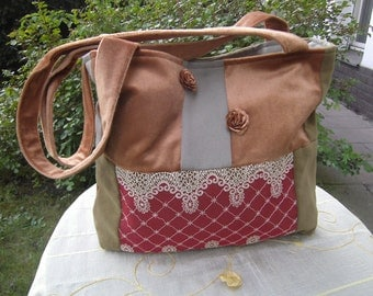green-terracotta Purse - Patchworkbag - upcycled Tote Bag - recycled Purse - Boho Bag - Quilted Purse