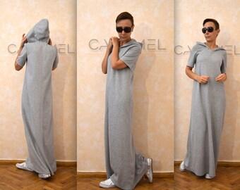 Sweatshirt Dress, Long Hooded Dress, Maxi Kaftan Dress, Side Pockets Dress, Gown, Winter Dress, Casual Warm Dress by CARAMELfs D4815