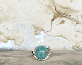 Sterling Silver Wire Wrapped Ring with Aventurine | Womens Rings | Boho Rings | Crystal Rings | Silver Rings | Gemstone Rings