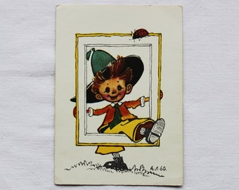 "Illustrator Laptev Vintage Soviet Postcard ""Know-nothing / Dunno"" - 1971. Sovetskiy hudozhnik. Boy, Frame, Ladybug, Hat"