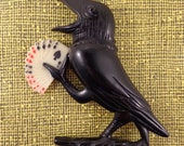 The ROOK BIRD Brooch, in Ebony Black Color.