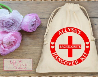 Personalized  Hangover Kit  Bachelorette Party  Muslin  Bag - Mini Favor bag - Bridal shower bag-Recovery kit-Custom muslin bag