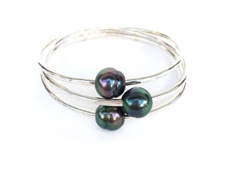 AA Multi-Color Tahitian Pearl Bangle Bracelet - Elegant - Hawaii Beach Jewelry - Gift For Her - Handmade Jewelry - Hawaii