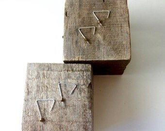 No. 31 Sterling Silver Minimal Geometric Angle Triangle Threader Earrings w/ Faceted African Brass Bead Embellishment / 22 gauge square wire