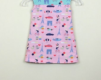 """Size 2 - Fully Reversible -  """"Alexandra Dress"""" dress in Pink Paris and reverse side matching macaroon and baguette"""