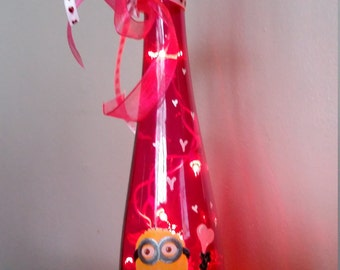 Valentine Minion Lighted Bottle /Painted/Lights/Pink/Tall