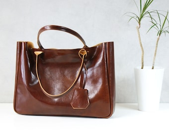 Brown Leather Tote Bag – BELLA Cognac Brown - Medium Size Handmade Leather Tote