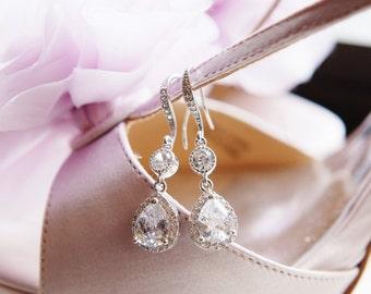 Crystal Bridesmaid Earrings Maid of Honor Gift Crystal Bridal Earrings Bridesmaid Gift CZ Dangle Drop Earrings Wedding Jewelry