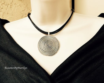 Spiral Necklace. Multi Strand Leather Necklace with Big Silver Spiral Pendant. Leather Necklace for Women. Simple Necklace.  #1C95