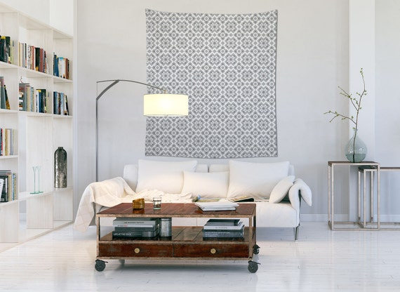 Grey Tapestry, Barcelona Decor, Modernist Wall Art, Wall Tapestries, Dorm Decoration, Living Room Tapestry
