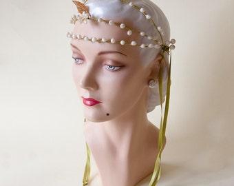 1920's Flapper Wax Blossom Headpiece Wax Buds with Silk Streamers 1920's Jazz Age Art Deco Bohemian Wedding Headpiece