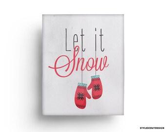 60% OFF Christmas printable - Holiday Art Print, Print, Holiday Art, Christmas Decor, Let it Snow, wall art decor,