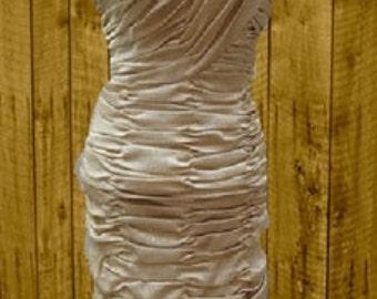 VINTAGE SMART MISS, Knit 1950s Gold Lamay.  Lurex Gathered Dress