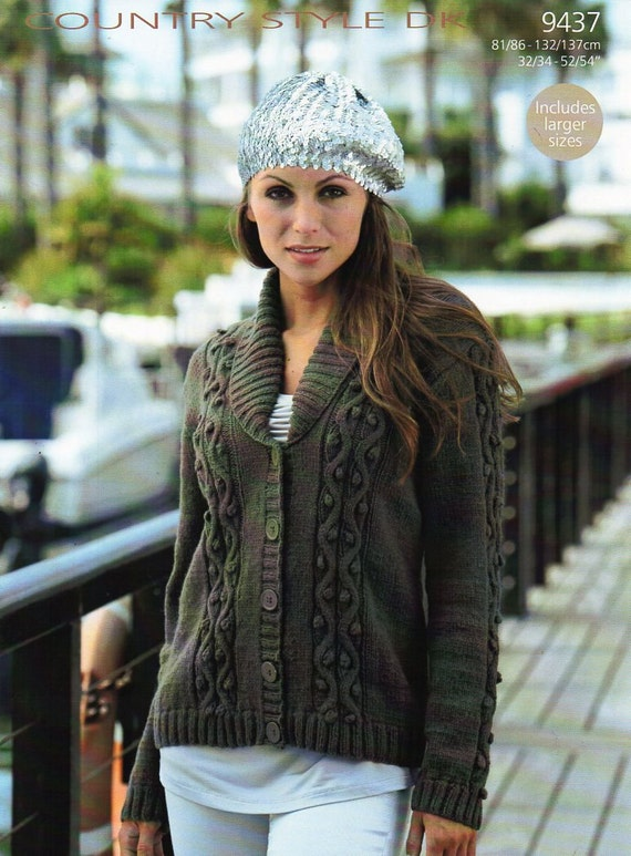 Womens Cardigan Knitting Pattern Pdf Ladies Shawl Collar Roll