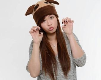 Dog Ear Fleece Hat - Brown Dog Fleece Hat - Dog Cosplay Hat - Puppy Ear Hat - Dog Hat - Dog Anime Hat - Doggie hat - Dog Cosplay Hat