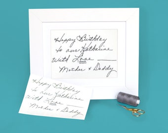 Sympathy gifts - Custom handwriting gift - In memory of father - Condolences - Your handwriting embroidered - Actual handwriting keepsake