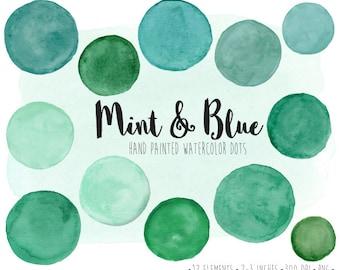 Watercolor Dots Clipart. Hand Painted Mint Watercolor Circles, Splotches Clip Art. Mint, Green, Teal, Blue Scrapbook Frames & Speech Bubbles