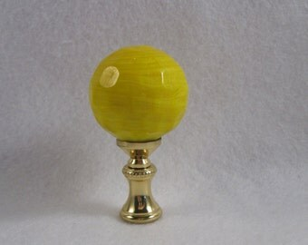 Yellow Glass Swirl Sphere Lamp Finial with Standard Thread. (D2)