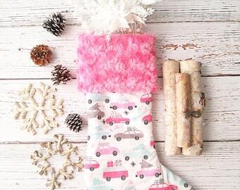Girls Christmas Stocking - Girls Holiday Stockings - Christmas Decorations - Mantel Deocr - Mantle Decor - Woodland Christmas