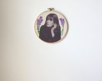 Embroidered Florence Welch Hoop Purple Lavender