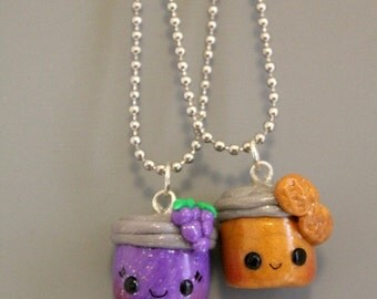 BFF Peanut Butter and Jelly Charms,kawaii polymer clay charm,grape jelly,minature food charm,silver ball chain,friendship gift, best friends
