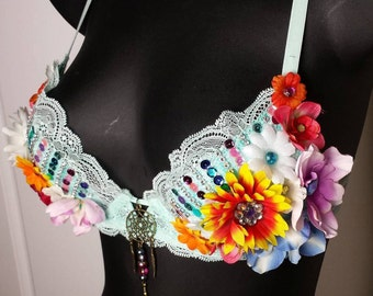 Festival Bra, READY TO SHIP, Mint Green Bra, Flower Bra, Dream catcher Bra, Multicolored Floral Bra, Lingerie, Rave wear, Hippie Bra