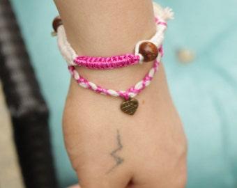Yoga Bracelet, Double Wrap Bracelet, Pink Braided Bracelet, Up-cycled Jewelry, Charm Bracelet, Arm Candy - 00005