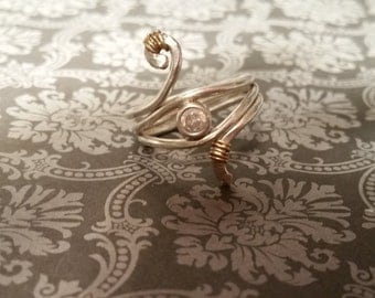 Double SWIRL ring in STERLING with 14K gold wire wrapping and CZ