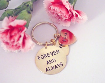 Forever and Always, Hand stamped Keyring, personalised with names. Valentine's Day gift