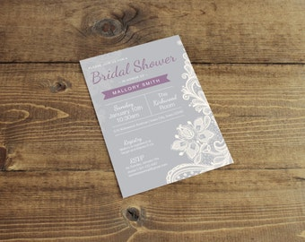 Bridal Shower Invitation (Printed with Envelopes) --Lace, Grey, Purple--