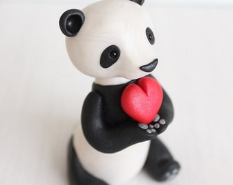 Panda Love cake topper, ornament, keepsake by Heartmade Cottage