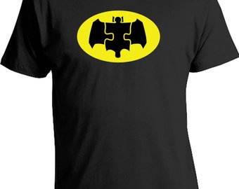 The Dark Puzzle Piece Yellow Superhero Shirt Raising Awareness Autism Super Power Autistic Gift Ideas Kids Boys Mens Tees & Tops Bats CT-025