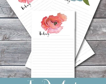 To Do List, Watercolor Flowers, Red and Blue, Digital Download, Printable, Lists, Notes,
