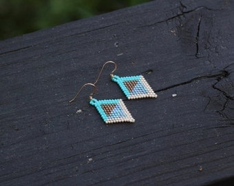 Brick Stitch Earrings | Turquoise, Gold, and Brown Diamond Shaped Beadwork Earrings | Dainty Mini Beadstitch Reverse Image Earrings