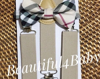 Tan Baby Bow Tie, Tartan Baby Bow Tie, Tan Toddler Bow Tie, Plaid Baby Bow Tie, Plaid Baby/Toddler Bowtie and Suspender Set- 6 Mo to 5 Years