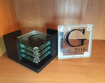 Custom Glass Coasters with Holder- Set of 4