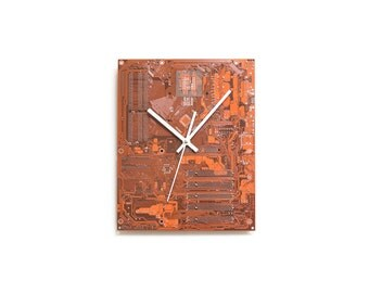 Dark Orange Motherboard Clock - Unique Large Wall Clock with White Clock Hands - Circuit Board Clock - Unique Wall Clock - Unique Gift