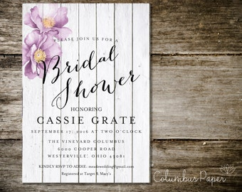 Wooden White Bridal Shower Invitation + Envelope (set of 30)
