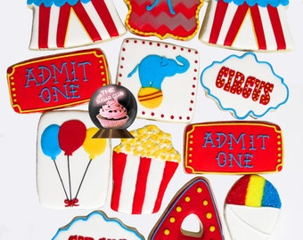 Circus Cookie, Circus Party Favor, Circus Birthday Favor, Circus Favor, Circus Theme Party, Circus 1st Birthday, Carnival Party Favor, Big T