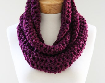 Chunky Infinity Scarf, The Signature Mini, Chunky Knit Scarf, Plum Scarf, Womens Scarf, Hand Crocheted Scarf