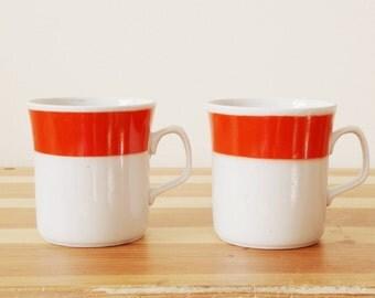 Set of 2 red striped vintage ceramic cups from the Soviet era (1970s), coffee mocha tea cup mug demitasse serving bowl stein jug t
