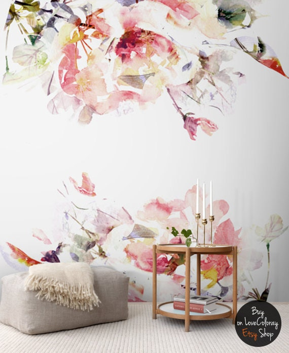 spring floral removable wallpaper watercolor wall mural peel by lovecoloray