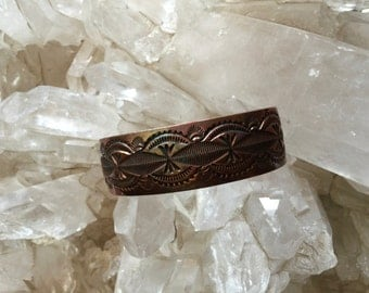 Southwestern Native American signed Copper Cuff bracelet