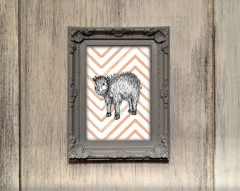 Illustrated Nursery Print Yak, baby mountain animal art ideal for boys bedroom, nursery, toddler gift. 5 x 7 inches to fit standard frame