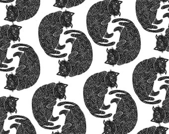 Cat Pattern Art / Cat Illustration / Digital Art / Black and White Cat / Digital Illustration Cat / Cat Print Poster / Funny Cat Art Print