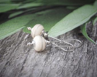 Sterling Silver Earrings, White Glass Earrings, Drop Glass Earrings, Handmade Glass Earrings, Wire Wrapped Earrings, Cream Earrings, Gift