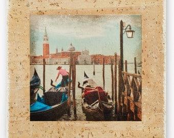 Venice print, Gondolas, Grand Canal, Venice fine art photography, Italy, Boyfriend gift, Housewarming gift, Photo on wood, 4x4, Photo gifts