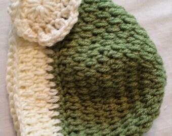 Cream & Olive Crocheted Hat w/ Cream Flower Accent