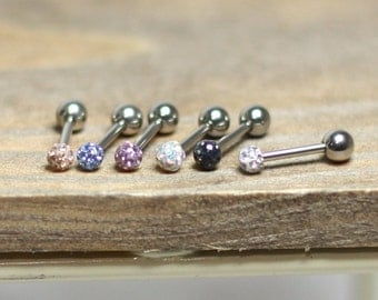 Tiny CZ ball piercing, 3mm piercing, cz glass ball piercing, tragus helix conch cartilage piercing earrings, ear piercing stud