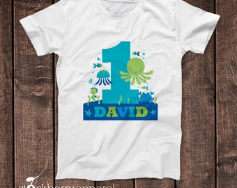 Under the Sea Birthday Shirt - Ocean Birthday Shirt - Beach Birthday Shirt - Boy Pool Birthday Shirt - Blue Personalized Sealife Birthday